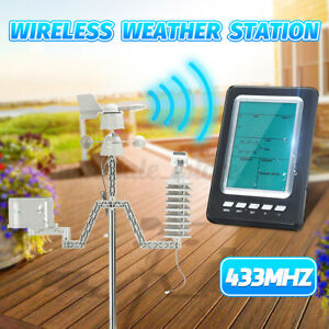 433MHZ LCD Wireless Wind Speed Direction Weather Station Temperature Humidity US