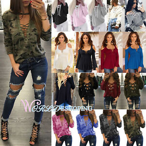 Womens-Plus-Size-Lace-Up-Criss-Cross-Blouse-Long-Sleeve-V-Neck-Casual-Tee-Tops