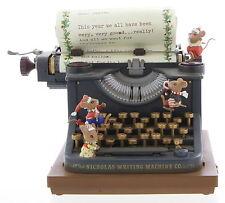RARE ENESCO Old Fashioned Christmas Typewriter Mice Multi-Action Music Box MIB