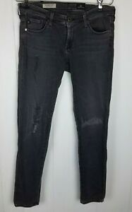 Adriano-Goldschmied-Jeans-sz-27R-Black-Distressed-The-Legging-Ankle-Super-Skinny