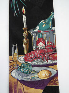 Vintage-Novelty-Necktie-by-Tabasco-Fine-Dining-Lobster-Wine-Artichoke-Foodie