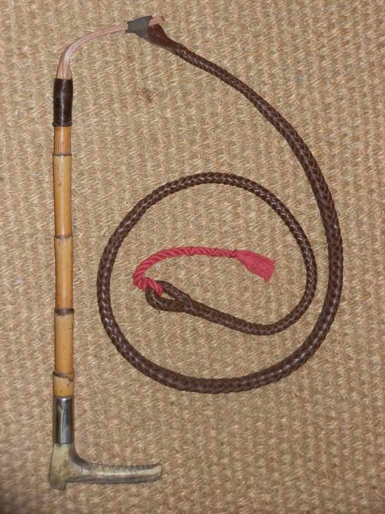 Antiguo Caballeros látigo de caza de bambú con cuello y Beaufort Lash de níquel