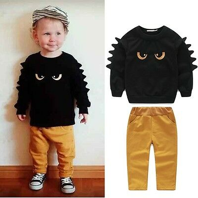 2pcs Monster Toddler Baby Boy Outfit Long Sleeve Pullover Tops+Pant Clothes Set