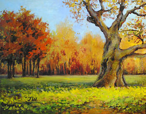 Old-oak-Original-framed-oil-on-canvas-16-034-x20-034-painting-from-artist-impressionism