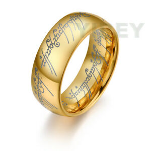 Tungsten The One Ring LORT 18K Gold Lord of the Rings Bilbo Hobbit