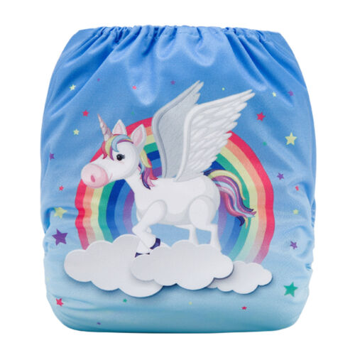 Flying Rainbow Unicorn Microfibre insert Eco Reusable Modern Cloth Nappy