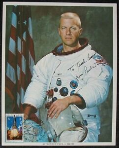 S1398-viajes-espaciales-astronauta-paul-j-Weitz-nasa-Photo-ou-autografo-UNISPACE-1982