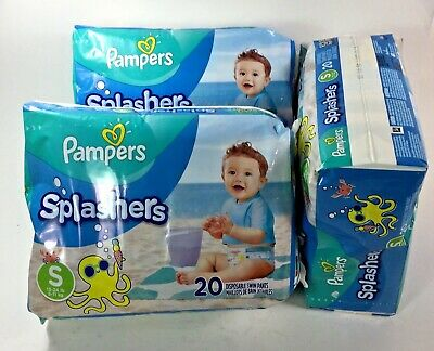 Pack of 2 Pampers Splashers Swim Diapers Disposable Swim Pants 20 Count Small 13-24 lb