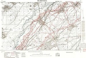 Trench Map WW1, Blaireville, February 1917, 1:10,000 scale, Repro ...