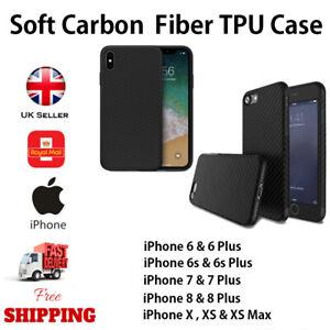 For-Apple-iPhone-6-7-8-Plus-X-XR-XS-Max-11-Carbon-Fibr-Soft-TPU-Cover-Case-Black