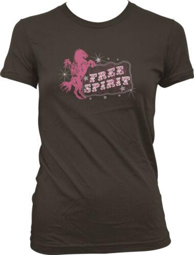 Cowgirl Riding Horse Bucking Western Juniors T-shirt Free Spirit