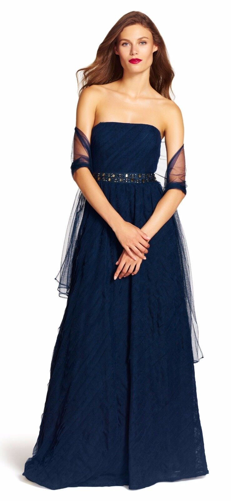 Adrianna Pepell Deep bluee Strapless Layered Tulle Ball Gown 12
