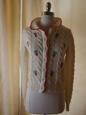 Vtg LE SOLEIL Rockabilly Ivory CHUNKY CABLE KNIT CARDIGAN SWEATER M Cherry Red