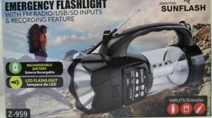 Digital-Sunflash-Emergency-Flashlight-amp-Torch-w-FM-Radio-USB-SD-Aux-Inputs-Z959