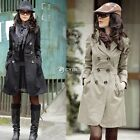 Womens Fashion Long Sleeve Slim Trench Double Breasted Coat Jacket Outwear DZ88