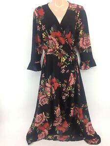 Women-Ladies-New-PlusSize-Long-Floral-Side-Tie-Knot-Frill-Sleeve-Wrap-Dress-4-24