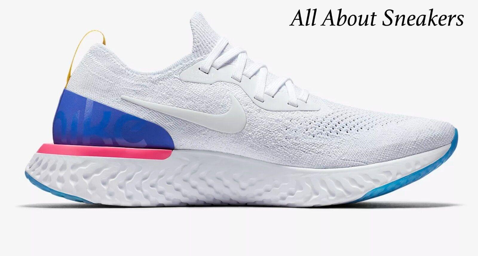 Nike epico reagire flyknit bianchi allenatore di scorta limitata