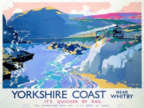 YORKSHIRE WHITBY ENGLAND UK STEAM TRAIN GULLS SEA ART PRINT POSTER BB10003