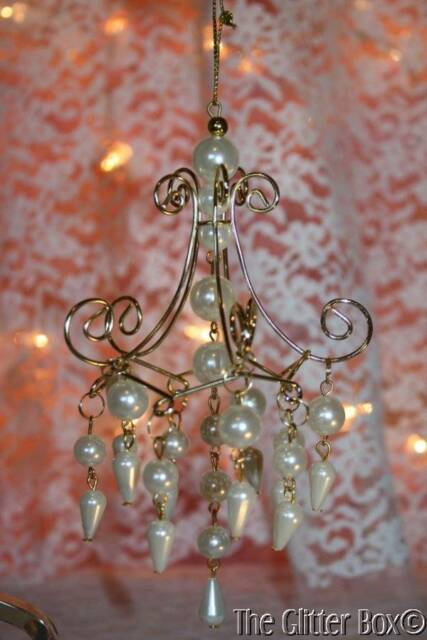 Christmas Ornaments Kurt Adler Gold Ivory Pearl Chandelier Shabby Cottage Chic