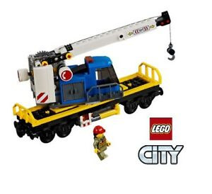 Lego-City-Chemin-de-Fer-60198-Grue-Voiture-avec-Figure-Selection-a