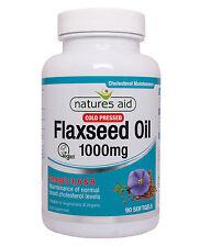 Flaxseed Oil 1000mg x 90 capsules (Omega 3, 6 + 9) Natures Aid