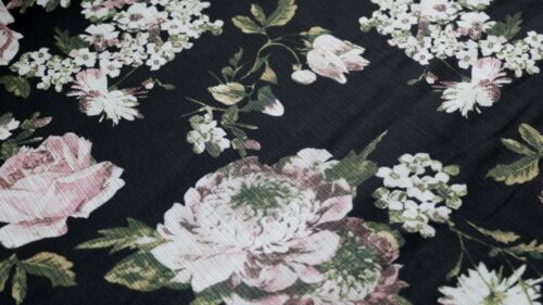 CHIFFON FABRIC MIXED FROWER DESIGN WHITE /& PINK FLOWERS ON A BLACK BACKGROUND