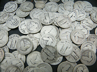 Lot Of 10 Standing Liberty Silver Quarters 90/%