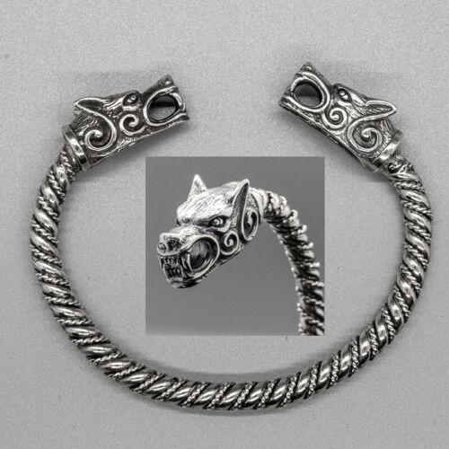 Cabeza De Lobo .925 Plata Torc Brazalete Mjolnir Biker Viking juramento Anillo brazo Pagano