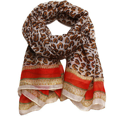 Animal Leopard Print Classic Gold Chain Link Design Inspired Scarf Shawl