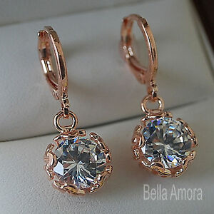 Image Is Loading 18k 18ct Rose Gold Plated Dangle Drop Earrings