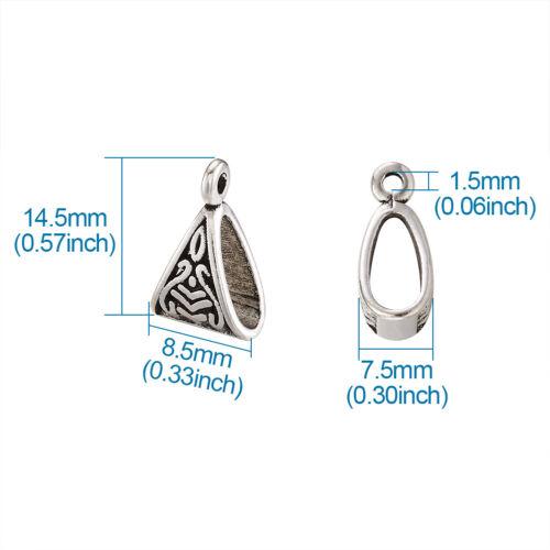 20pcs Tibetan Silver Triangle Bail Beads Pendant Hanger Carrier Craft 15.5x10mm