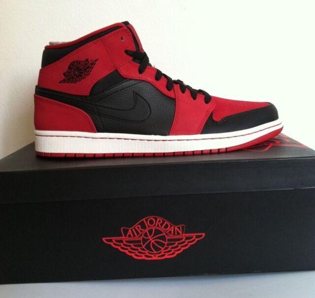 Nike Air Jordan 1 Mid Bred Black Gym Red Suede 554724-005 US 9 ... 3b48aab6ba93