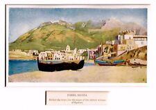Ischia: Forio: Panorama col monte Epomeo. Golfo di Napoli. Stampa Antica. 1904