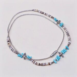 SOUTHWEST-STYLE-NECKLACE-WITH-SMALL-TURQUOISE-STONES-AND-SHELL-BEADS-HEISHI