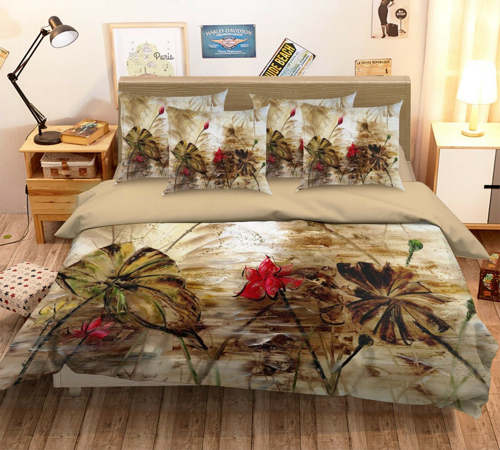 3D Painting Lotus 738 Bed Pillowcases Quilt Duvet Cover Set Single Queen King CA