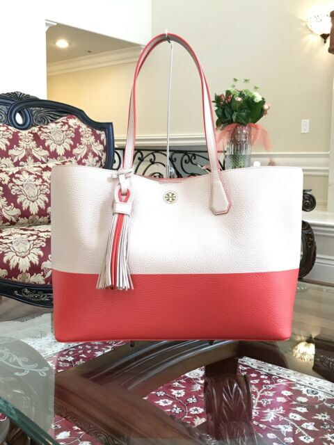 237396c3dee Authentic Tory Burch Color Block Perry Tote Light Oak samba ...