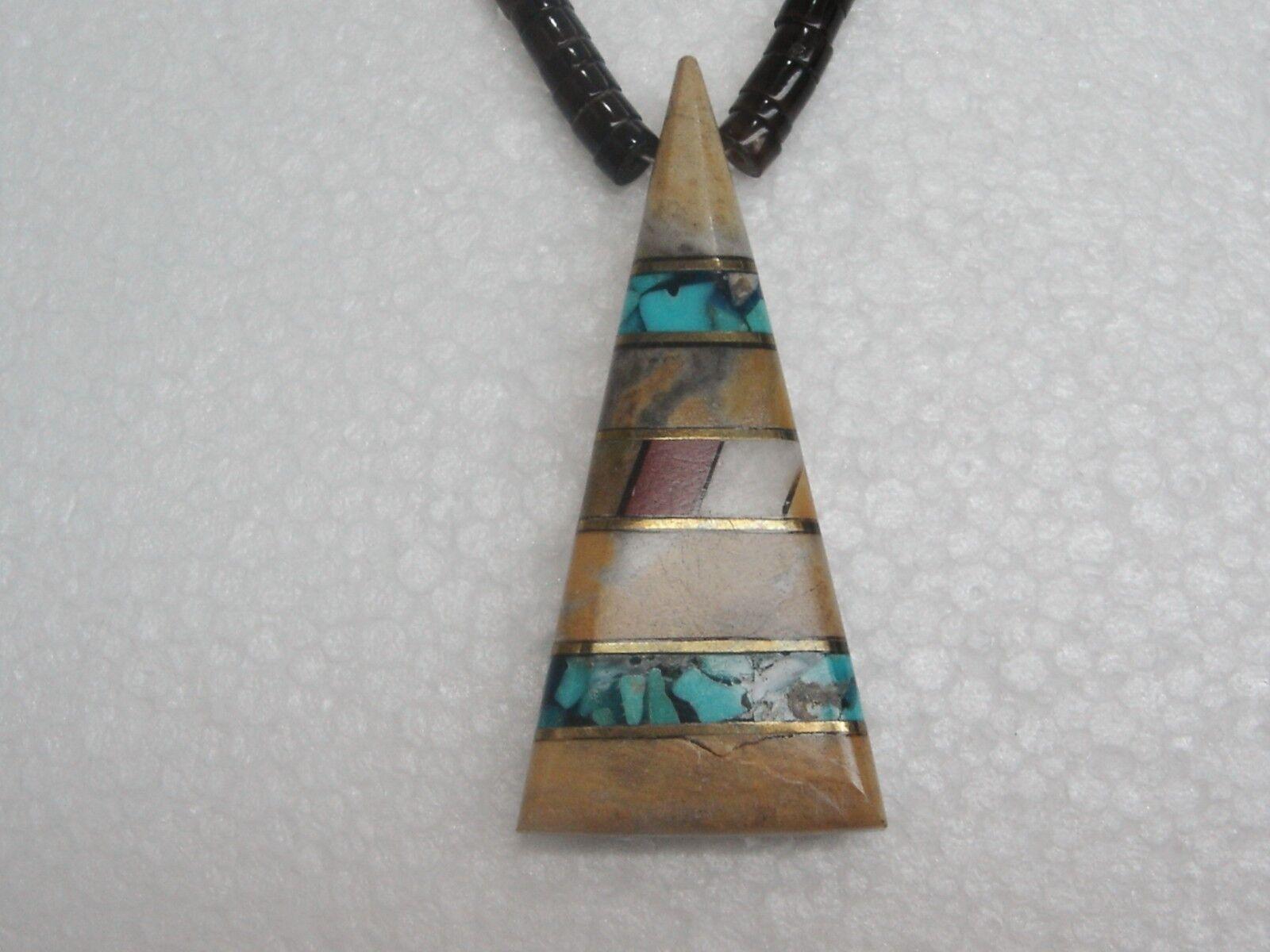 Sudest Sudest Sudest Heishi Collana Triangolari Multi Pietra Intarsio Ciondolo   43.2cm N390-q 43d7a0