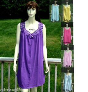 PLUS-SIZE-ASSORTED-COLORS-CHEMISE-SHORT-NIGHTGOWN-SLEEPWEAR-L