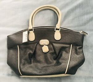 Guess-Black-And-Beige-Bucket-Tote-Bag-Brand-New-With-Tags