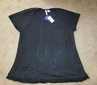 Women's Chenault Knit Top Size Xxl Black W/ Lace Trim