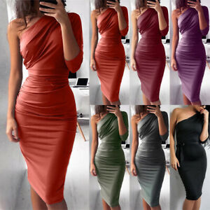 Women-One-Shoulder-Bodycon-Midi-Dress-Evening-Party-Cocktail-Club-Pencil-Dresses