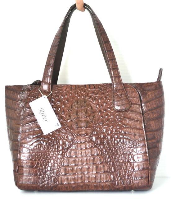 100 Genuine Crocodile Leather Handbag Bag Tote Hobo Brown River