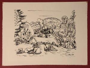 Ivo capitano, i prati pietra in agnetendorf, litografia, 1960, firmato a mano