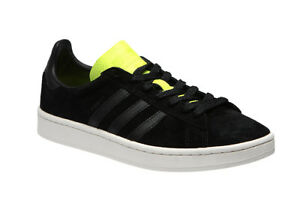 the best attitude feec4 666a1 Image is loading adidas-Originals-Campus-Suede-Soccer-BLACK-Yellow-US-