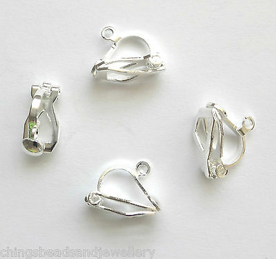 20 Silver Plated 12x6mm Clip On Earring Findings
