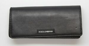 Dolce-amp-Gabbana-Authentic-Black-Leather-Eyeglass-Case-Magnetic-Accordian-Folding