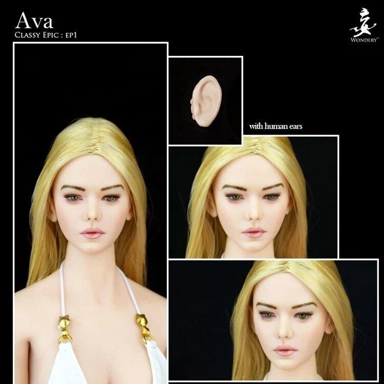 1 6 WONDERY Ep01 Ava Female Head Sculpt W Removable Ears F 12'' Figure