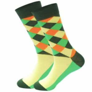 Mens-Crew-Socks-Argyle-Bright-Green-Sock-Novelty-Funny-Funky-Happy-Bright-Cool