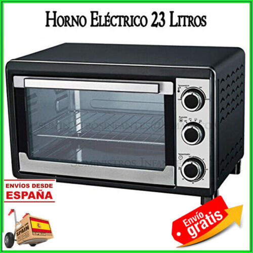 HORNO 23 LITROS ELECTRICO NEGRO 1500W OVEN BLACK HORNO SOBREMESA 48x34x29 CM