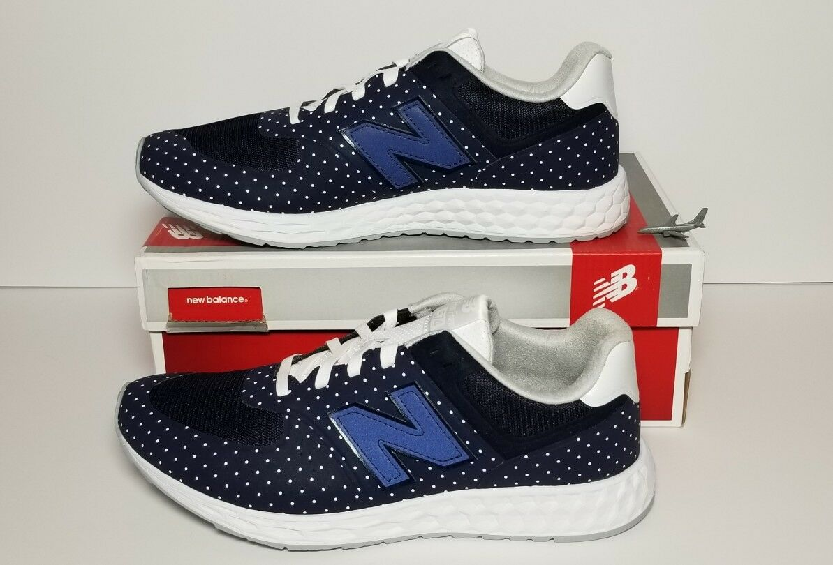 NEW BALANCE MEN'S SIZE 9.5 NEW   BOX NAVY - WHITE POLKA DOTS   MFL574PD
